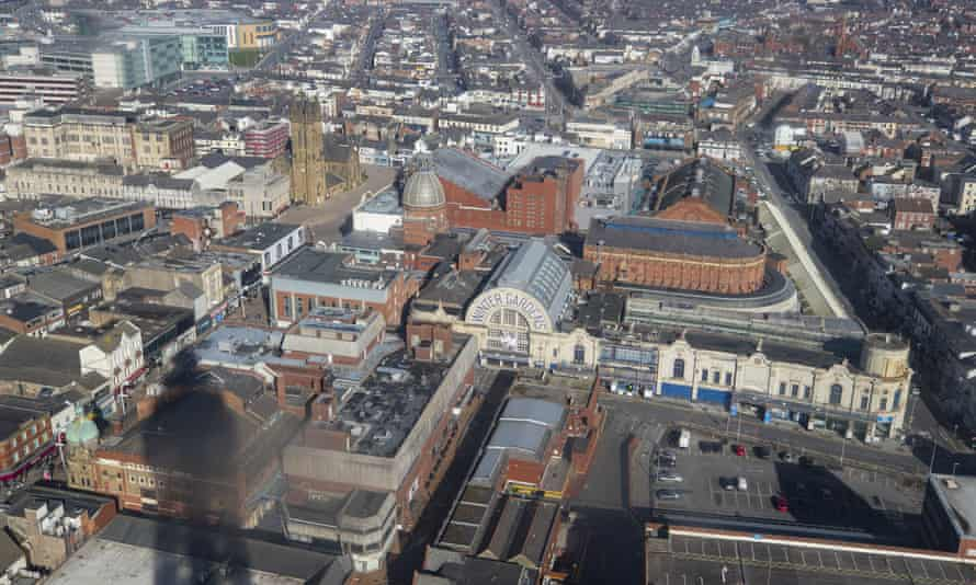 View from Blackpool Tower of the Winter Gardens