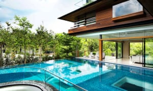 sweepign view of the pool and bungalow of James Dyson's new £26m bungalow
