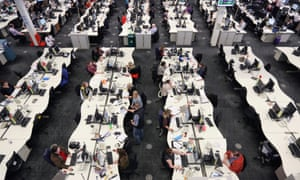 Workers at a call centre in Leeds.