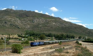 Train passing Tulbagh Station near Cape Town, South Africa.