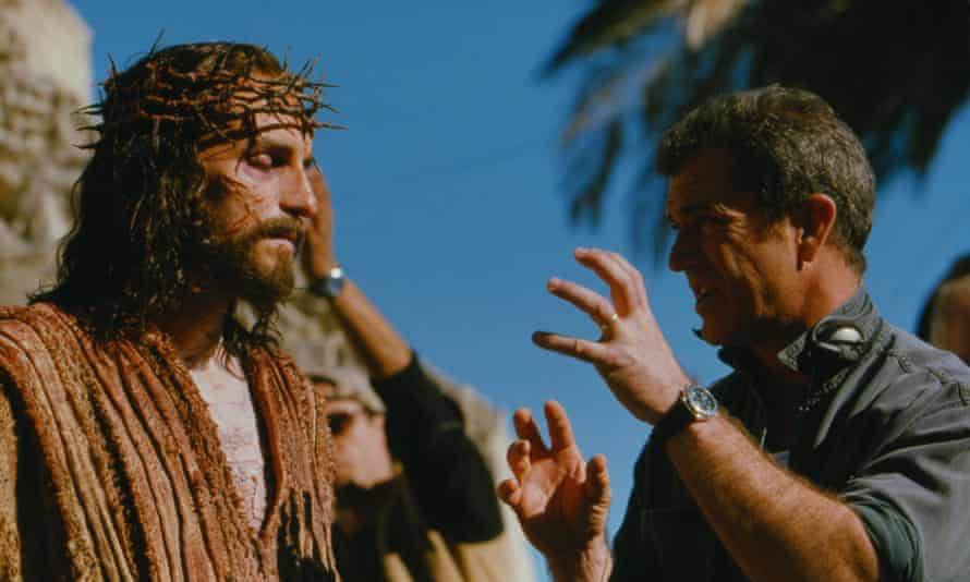 Mel Gibson with Jim Caviezel on the set of The Passion of the Christ.