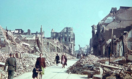 Bomb damage in Mönchengladbach, where half of the city centre had been destroyed by the end of the war.