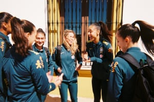 Brazil squad members Letícia, Tamires, Kathellen and Luana before pre-World Cup training, taken by Aline Reis, their goalkeeper