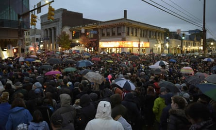 Members of the Squirrel Hill community come together for a student-organized candle-light vigil.