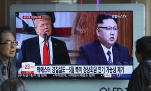 Donald Trump and Kim Jong-un on TV