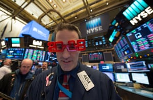 A trader on the floor of the New York Stock Exchange today