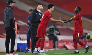 Liverpool's Curtis Jones comes on as a substitute to replace Naby Keïta against Chelsea in July.