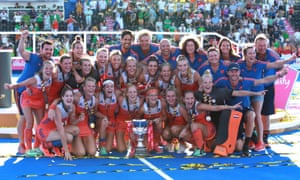 The Netherlands team and coaching staff celebrate after beating outsiders Ireland 6-0 in the women's hockey World Cup final.