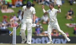 South Africa bowler Anrich Nortje celebrates after dismissing Ben Stokes.