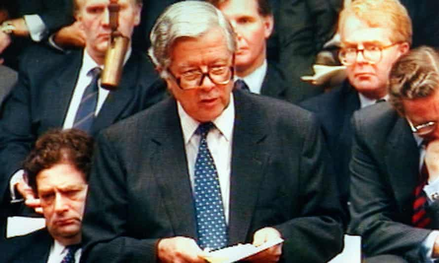 Geoffrey Howe gives his resignation speech in the House of Commons in 1990.