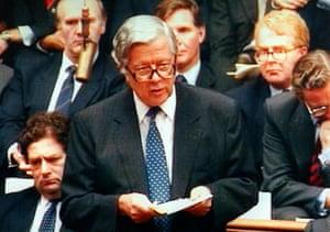 Sir Geoffrey Howe makes his resignation speech.