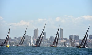 Sydney to Hobart: yachts sail out of Sydney Harbour at the start of the annual yacht race.