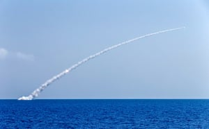 Russia's Veliky Novgorod and Kolpino submarines fire the Kalibr cruise missiles from the eastern Mediterranean to hit Islamic State militants' bases in Syria.