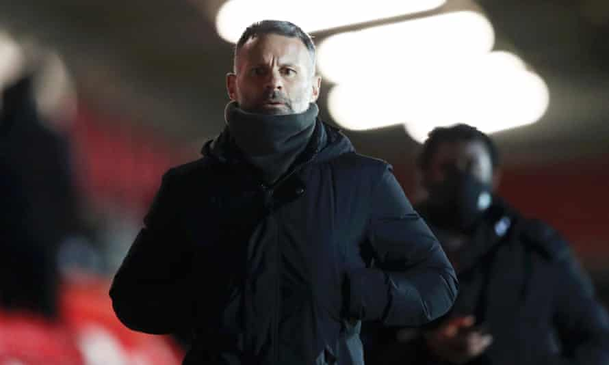 Ryan Giggs, co-owner of Salford City, seen at the end of the League Two game against Barrow on 16 February.