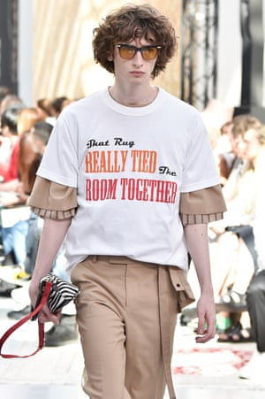 """Sacai: The Dude from The Big Lebowski played the role of unlikely muse at Sacai. His quote """"That rug really tied the room together"""" sums up the designer Chitose Abe's cut-and-splice hybrid style and provided the jumping-off point for a collection that brought together varied styles from tuxedos to Hawaiian prints celebrating archival images of the veteran surfer Duke Kahanamoku. Coen Bros fans will be pleased to note The Dude's pearls of wisdom also come on a slogan T-shirt."""