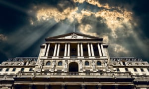 The front facade of the Bank of England with storm clouds and god rays added in sky above