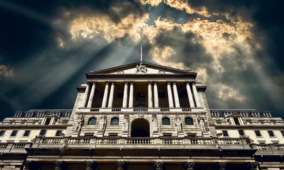 Bank of England with storm clouds above