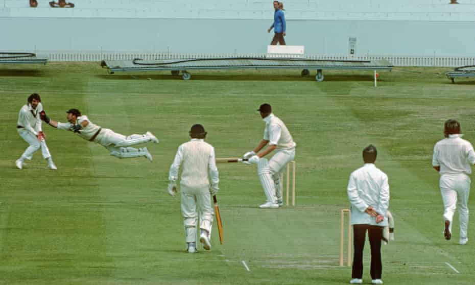 Rod Marsh dives in front of first slip to dismiss Tony Greig during the World Cup match between Australian and England at Headingley in 1975.