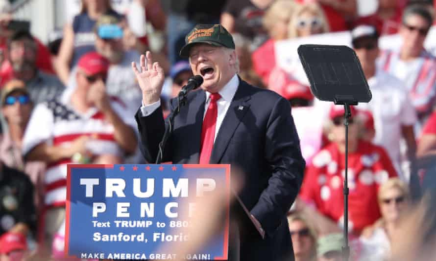 Donald Trump addresses supporters in Sanford, Florida Tuesday.