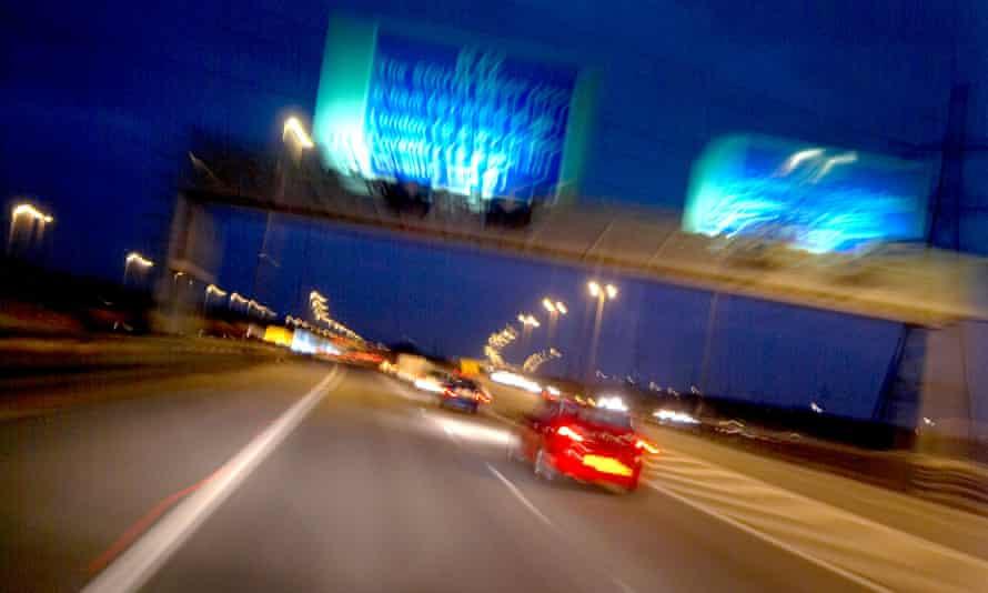 A night time, dusk M42 Midlands motorway scene