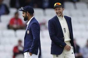 captains Root and Kohli all smiles beforehand.