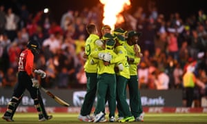 South Africa celebrate a dramatic final-ball victory.
