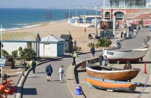 Police and PCSOs patrol Brighton beach