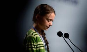 Swedish climate activist Greta Thunberg gives a speech.