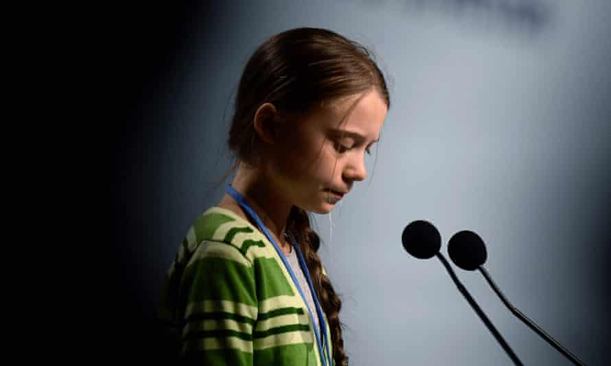 Swedish climate activist Greta Thunberg gives a speech.