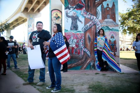 A scene in San Diego's Chicano Park, where pro-Trump and anti-Trump protesters recently clashed.