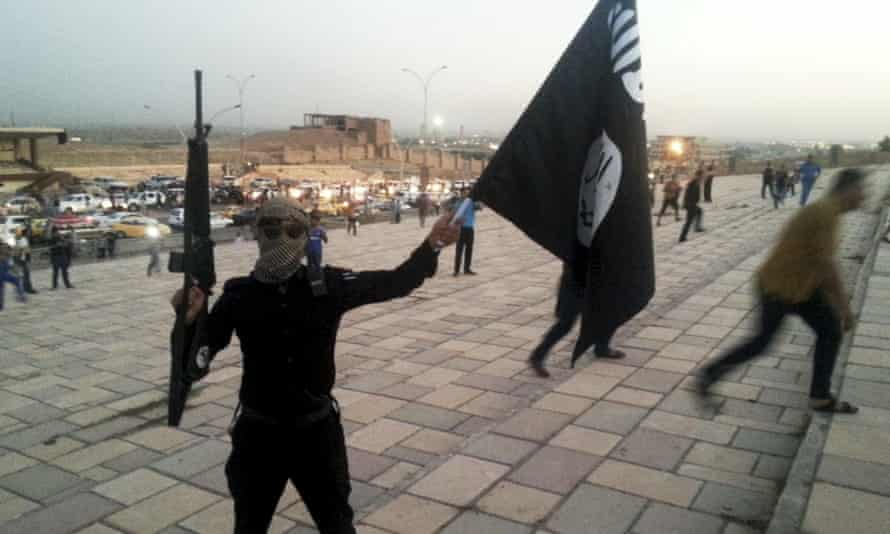 An Isis fighter in Mosul