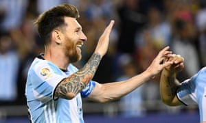 Lionel Messi celebrates his third goal of a dazzling hat-trick.
