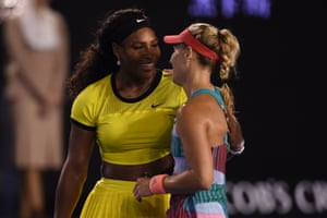 Serena Williams is gracious in defeat and embraces Kerber.