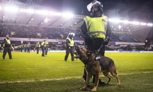 A policeman and police dog stand guard on The Den pitch after violent clashes before the FA Cup tie between Millwall and Everton.