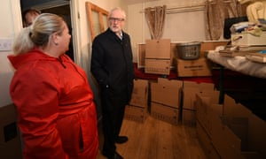 Jeremy Corbyn speaking to a resident affected by the flooding in Bentley.