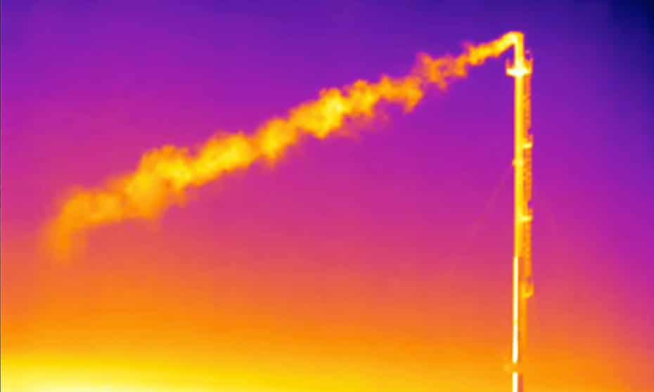Infrared camera footage showing a plume of methane gas flowing from a vent stack.