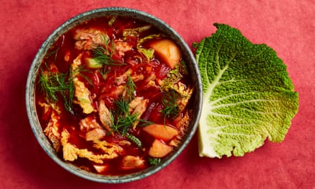 Olia Hercules's papushka's borscht.