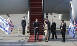 Prince William disembarks from a Royal Air Force plane in Tel Aviv.