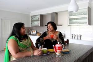 Shalini Pratap has tea with her niece Priya Kumar.