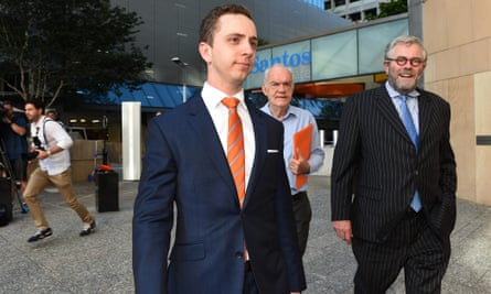 Queensland University of Technology student Calum Thwaites (left) arrives at the federal court in Brisbane on Friday.