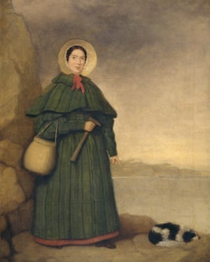 The only known portrait of Mary Anning, pictured with her dog, Tray.