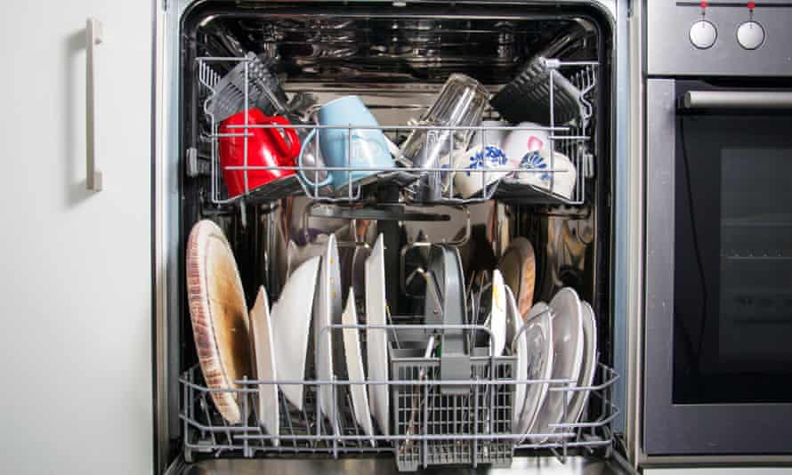 A fully loaded dishwasher