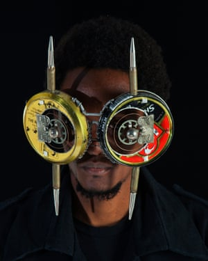 An eyewear mask creation by artist Cyrus Kabiru who began making his art by using trash from the slums of Nairobi where he grew up.