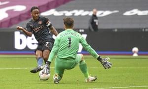 West Ham's goalkeeper Lukasz Fabianski thwarts Manchester City's Raheem Sterling.