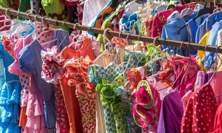 Flamenco dresses in the Thursday flea market in Calle Feria.
