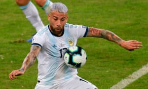 Nicolás Otamendi in action for Argentina during the Copa America. He is one of only three senior centre-backs in the Manchester City squad.