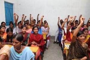 Girls attending school in Bihar state