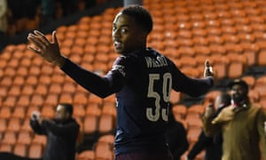 Joe Willock celebrates scoring his and Arsenal's second goal