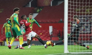 Manchester United goalkeeper David de Gea (right) saves from West Bromwich Albion's Conor Townsend.
