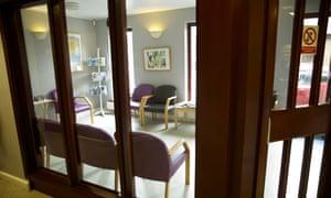 Empty doctors' waiting room